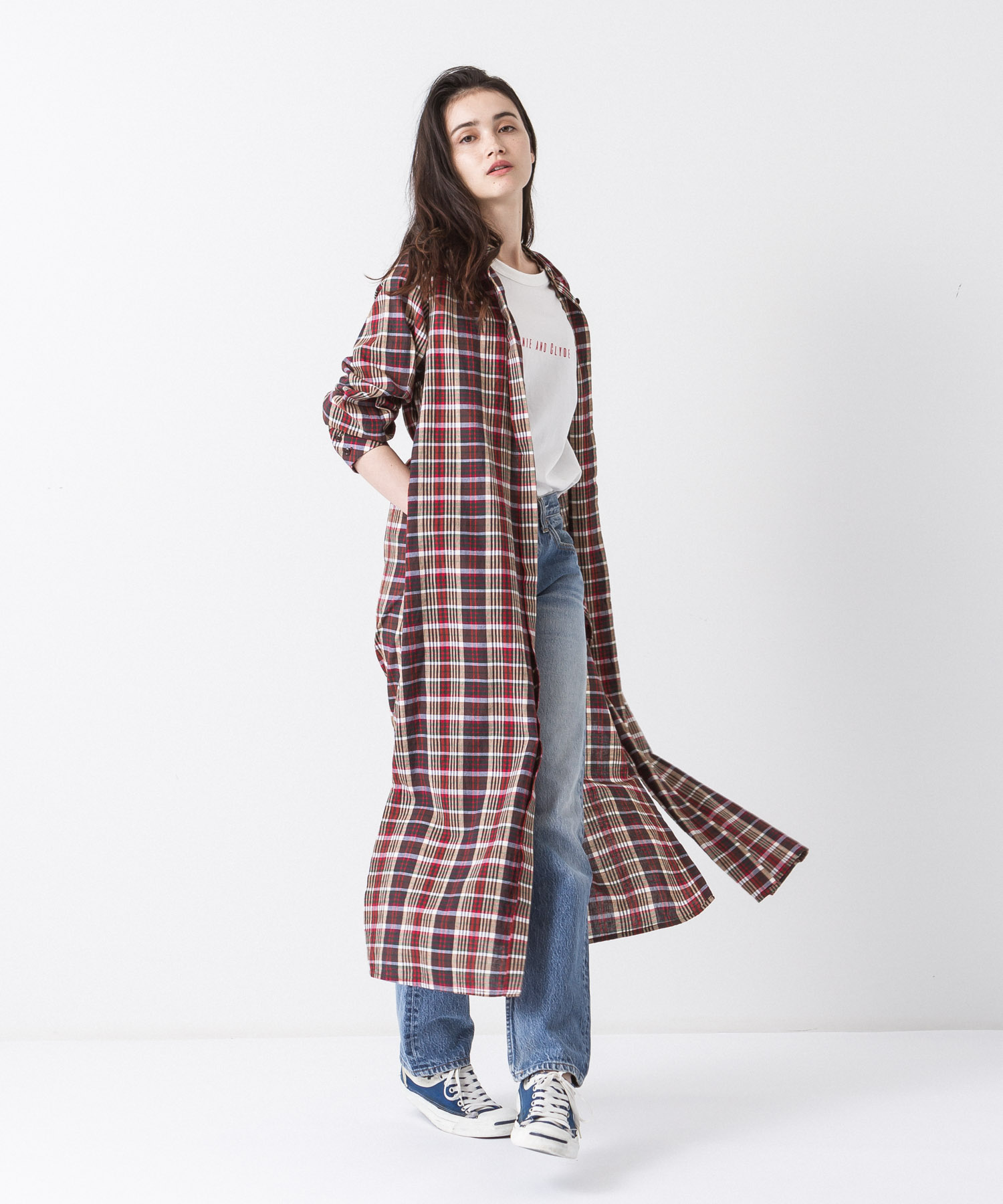 Madras Check Maxi Gown - BROWN
