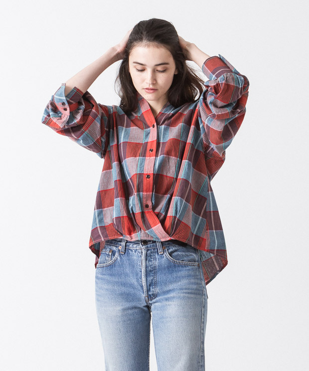 Madras Check Cache-Coeur Shirt - ORANGE