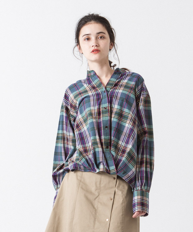 Madras Check Cache-Coeur Shirt - GREEN