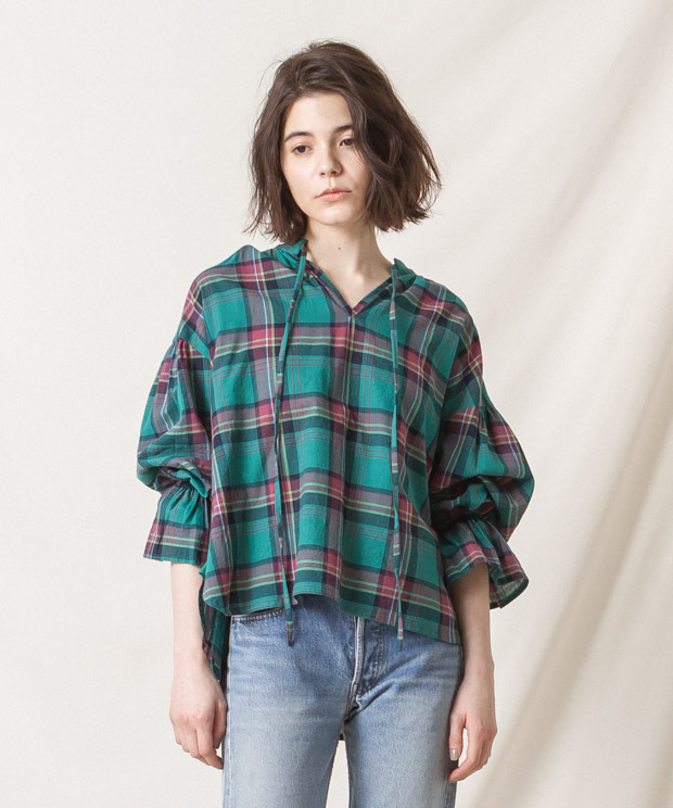 Madras Check Gathered Blouse (EXCLUSIVE) - GREEN