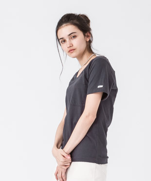 Old Cotton V-Neck T-Shirt - CHARCOAL