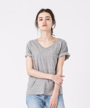 Old Cotton V-Neck T-Shirt - GRAY