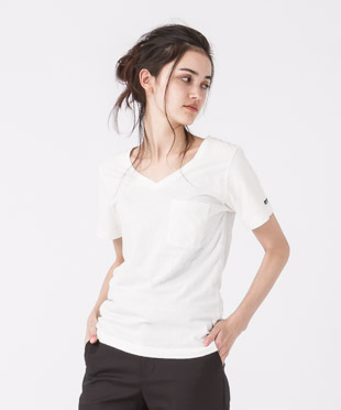 Old Cotton V-Neck T-Shirt - WHITE