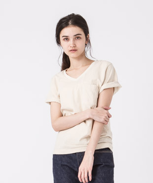 Old Cotton V-Neck T-Shirt - NATURAL