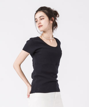 Jacquard French Sleeves T-Shirt - BLACK