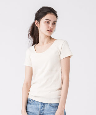 Jacquard French Sleeves T-Shirt - NATURAL