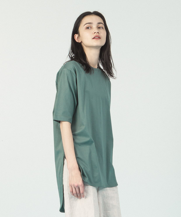 Compact Yarn Crewneck Tunic - GREEN