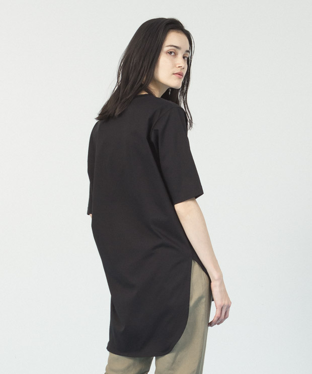 Compact Yarn Crewneck Tunic - BLACK