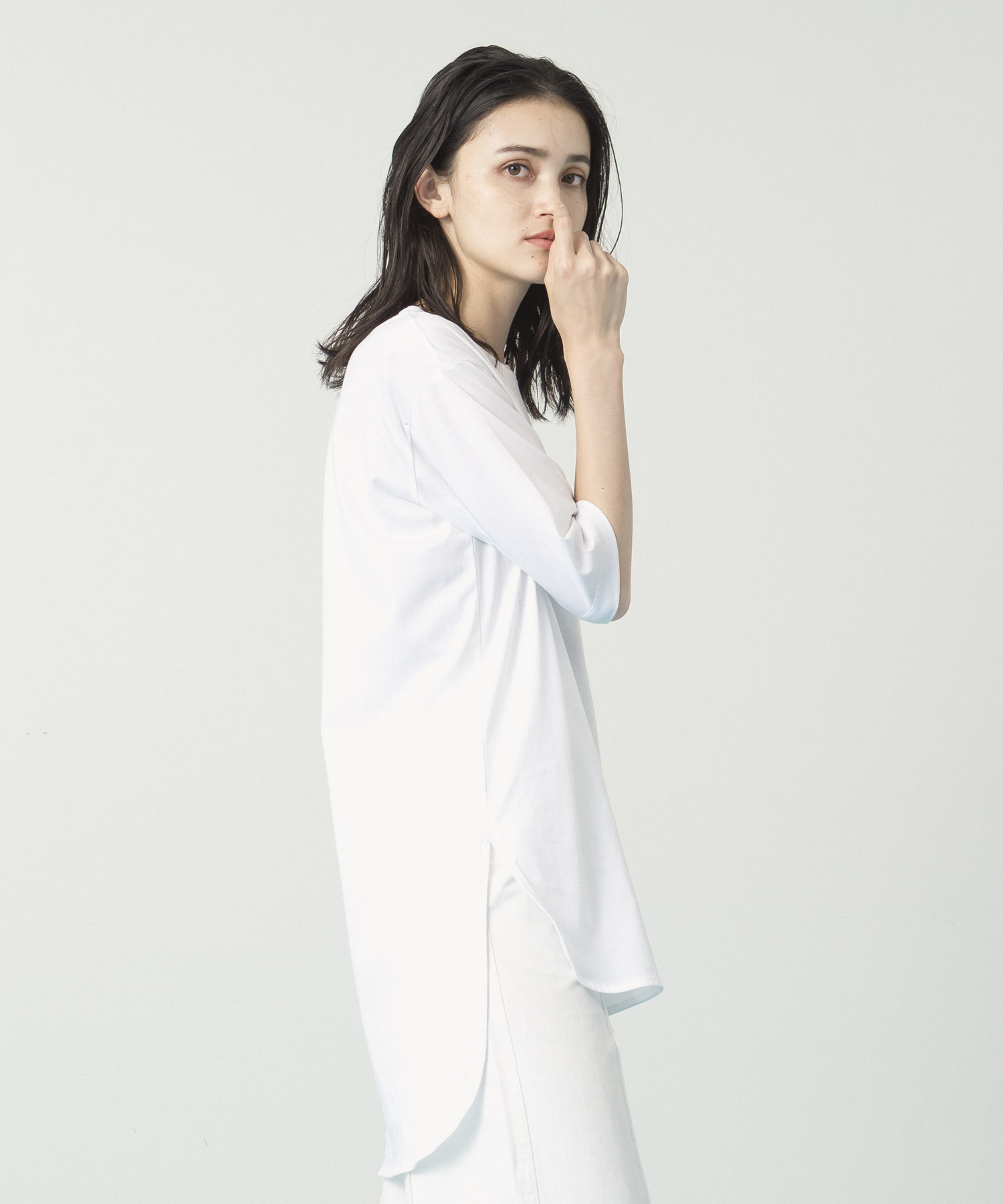 Compact Yarn Crewneck Tunic - WHITE