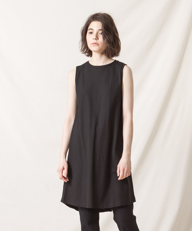 High-Twist Cotton Sleeveless Dress - BLACK