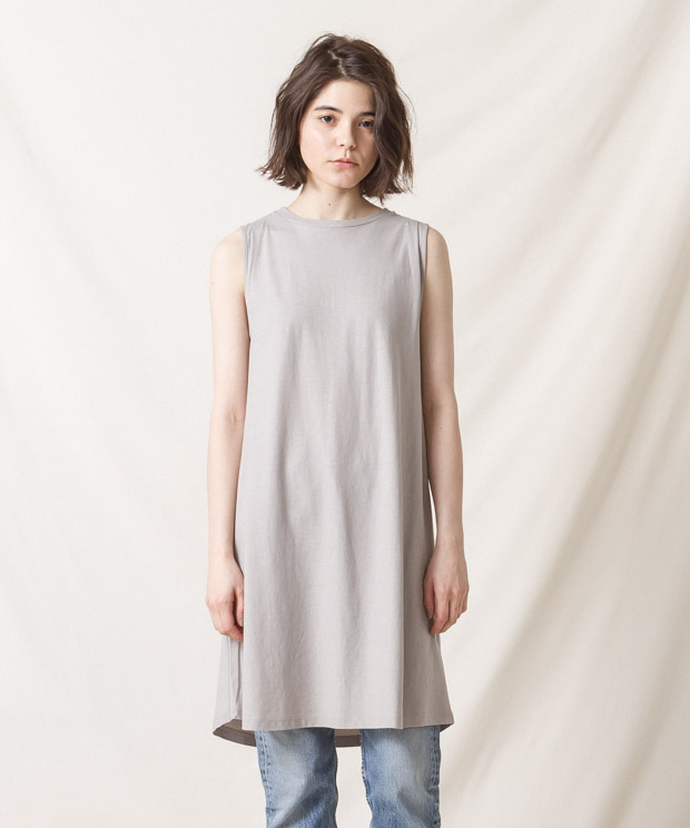 High-Twist Cotton Sleeveless Dress - GRAY
