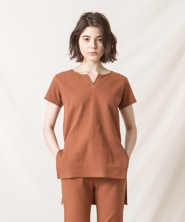 Ribbed Pleated Tunic - CAMEL