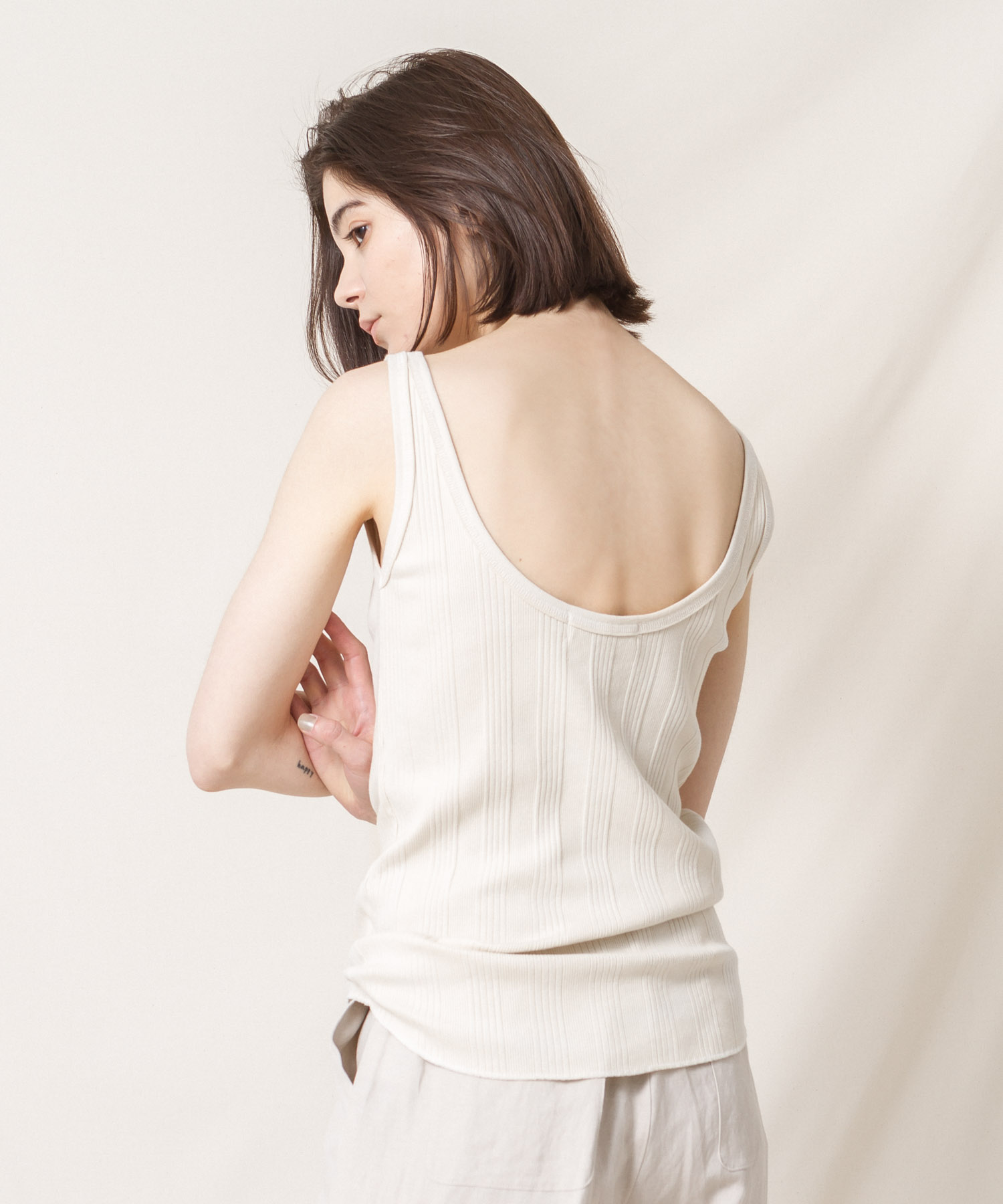 Back Opened Bare Ribbed Tank Top  - IVORY