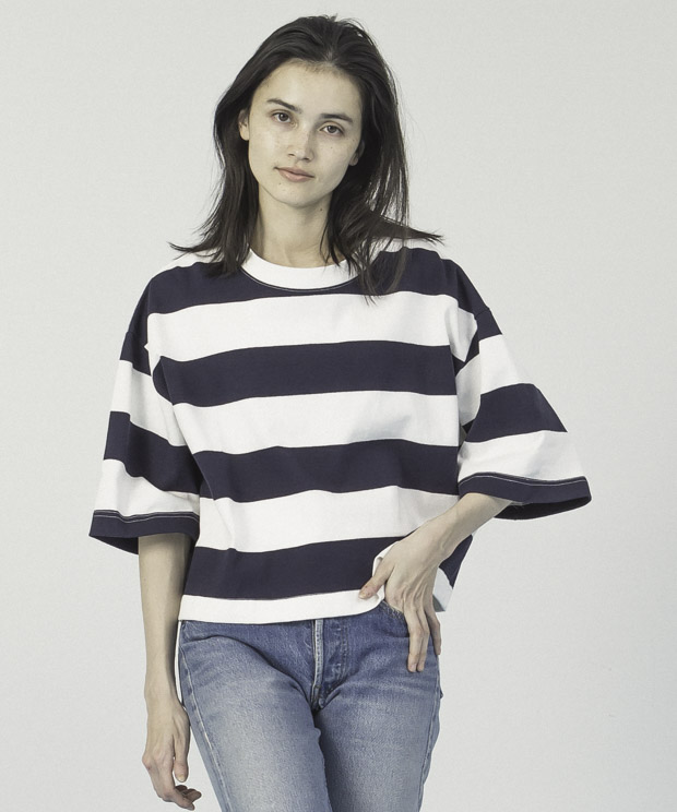 Cropped T-Shirt - WHITE/NAVY