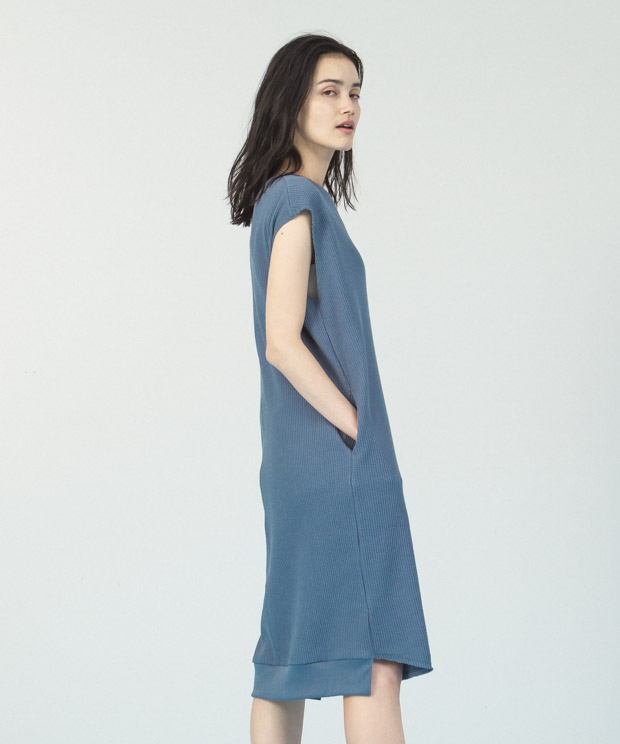 Waffle French Sleeves Dress  - SAX