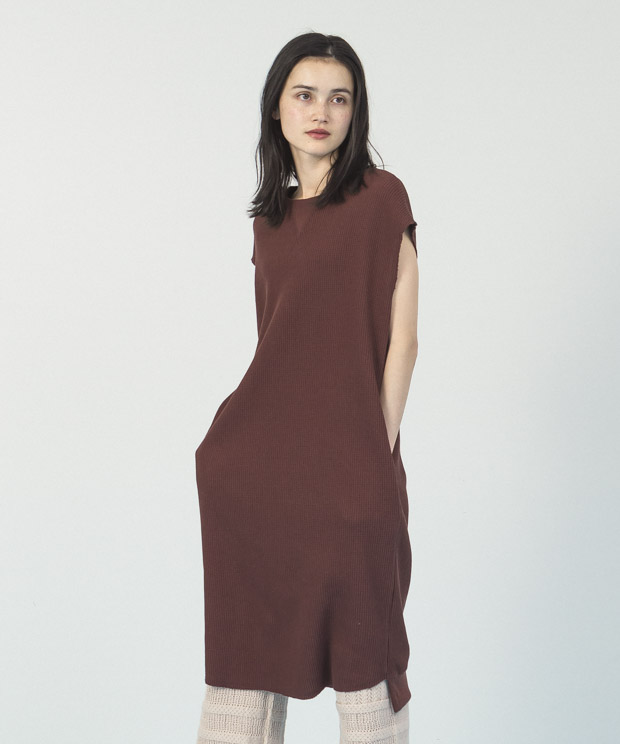 Waffle French Sleeves Dress  - BROWN