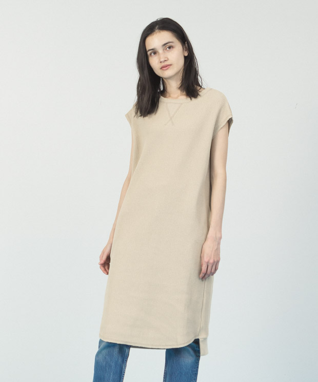 Waffle French Sleeves Dress  - BEIGE