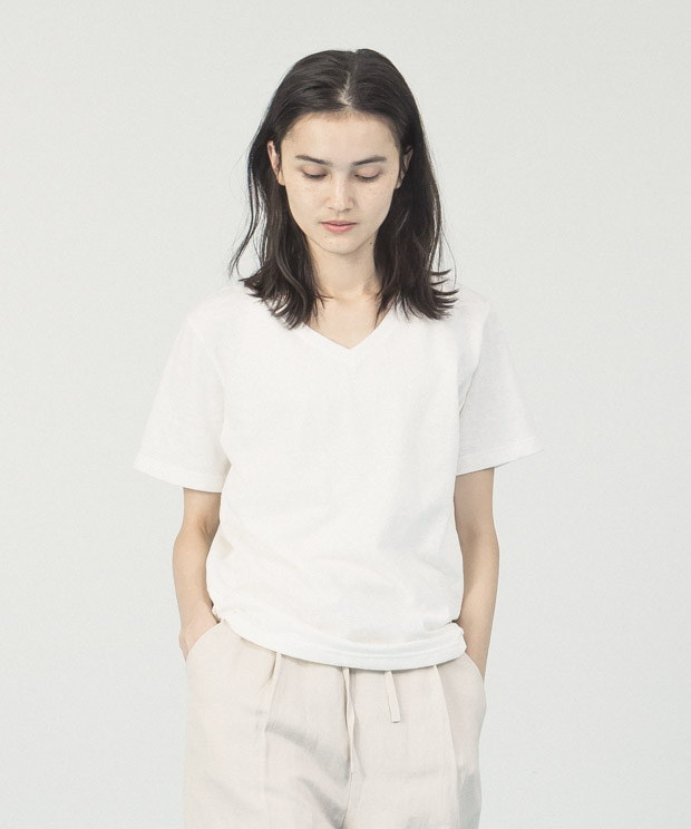 Belgium Linen V-Neck T-Shirt  - WHITE