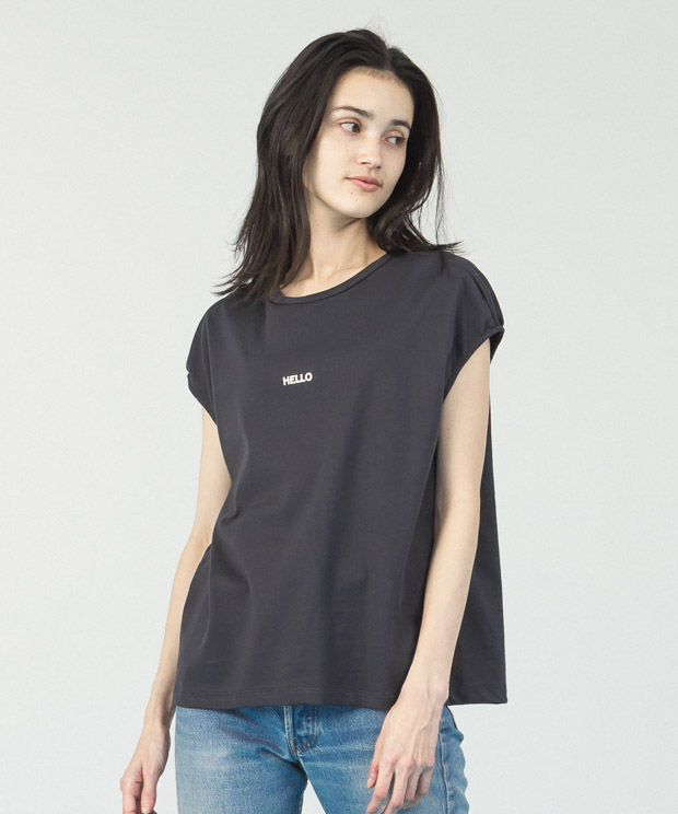 French Sleeves Printed T-Shirt - CHARCOAL