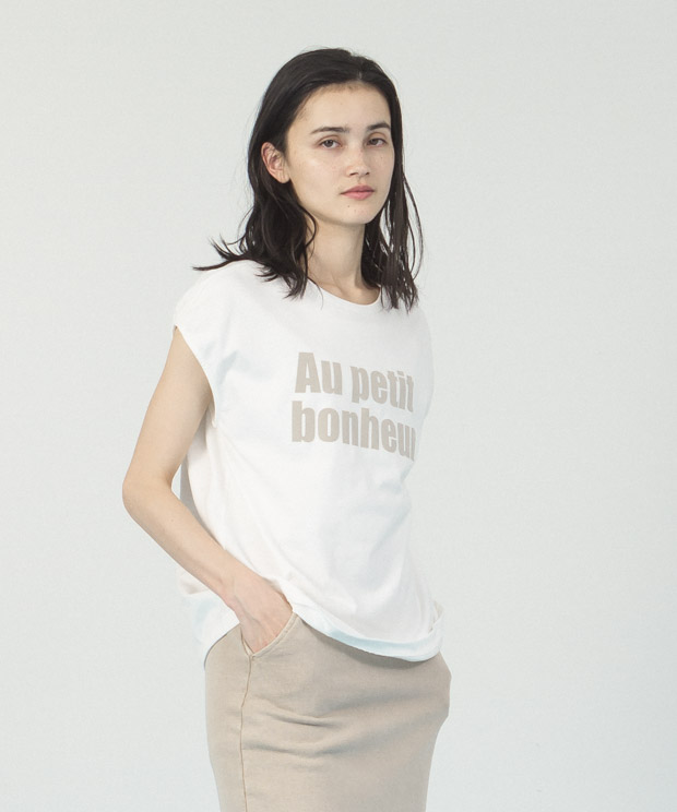 French Sleeves Printed T-Shirt - WHITE