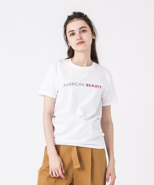 Crewneck Printed T-Shirt(American Beauty) - WHITE