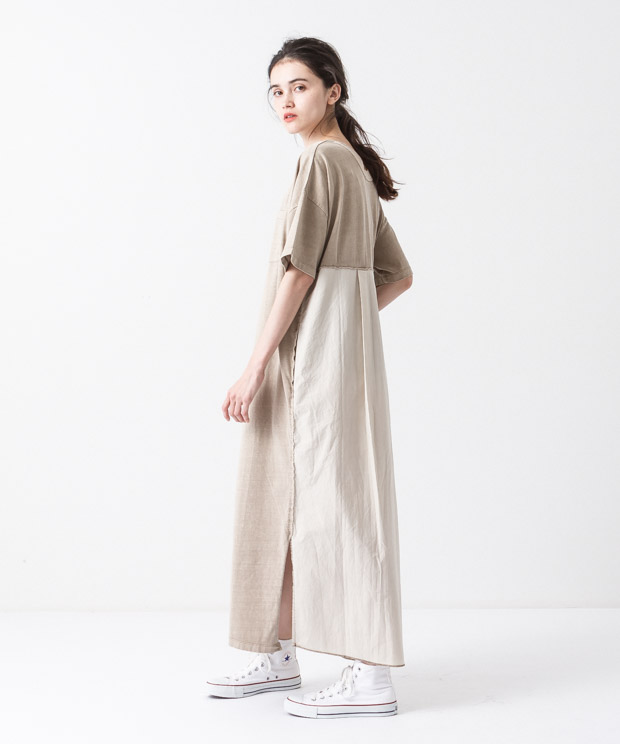 Pigment Dyed Dress - BEIGE