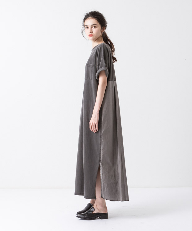 Pigment Dyed Dress - BLACK