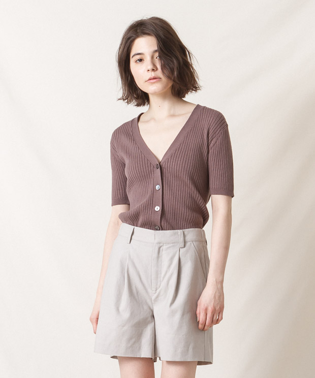 Half Sleeves V-Neck Ribbed Cardigan - MOCHA