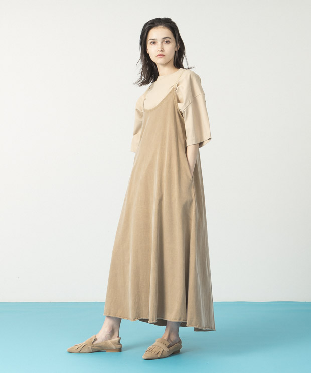 Pigment Dyed Cami Dress - CAMEL