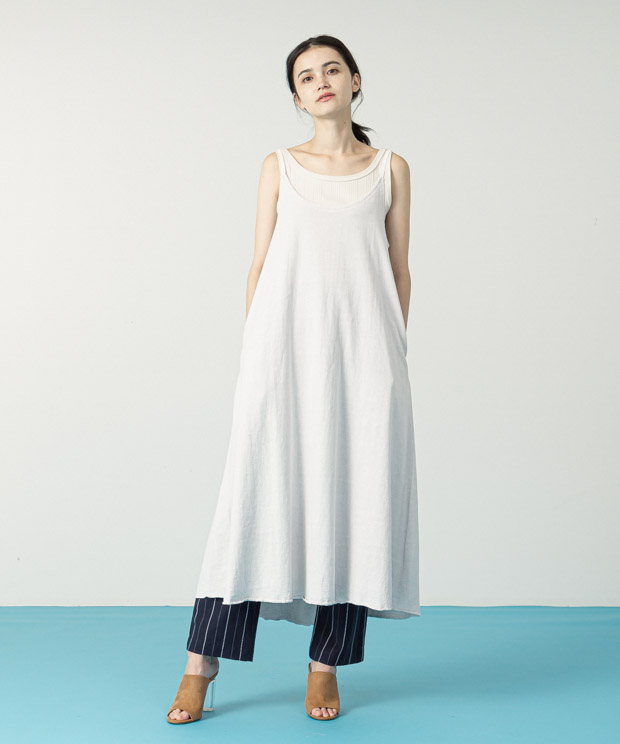 Pigment Dyed Cami Dress - WHITE