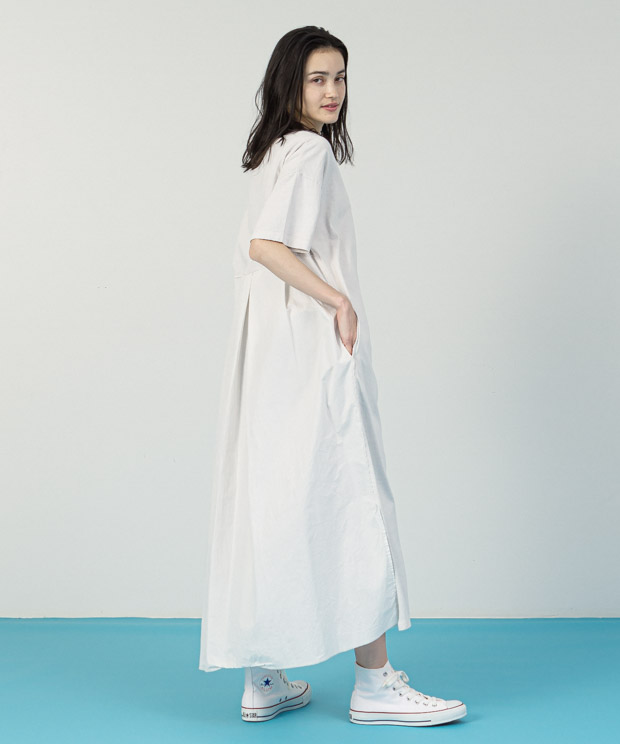 Pigment Dyed Dress - WHITE