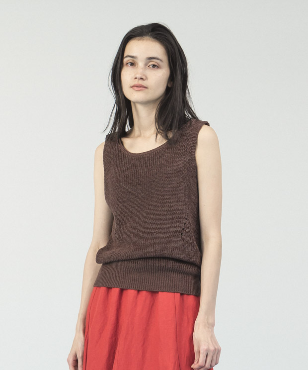 Cotton Linen Knit Vest  - BROWN