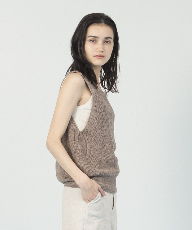 Cotton Linen Knit Vest  - BEIGE