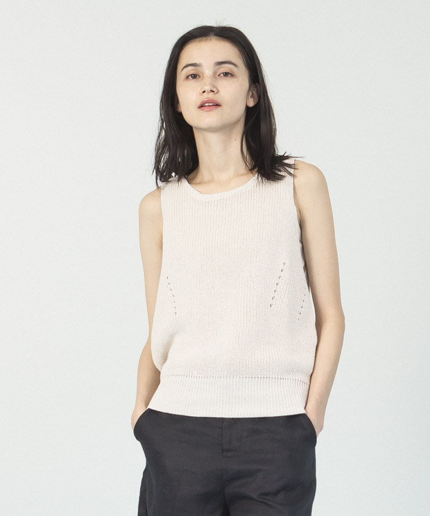 Cotton Linen Knit Vest  - NATURAL