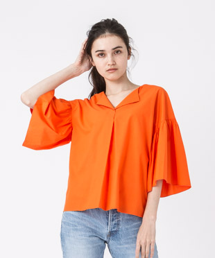 Flare Sleeves Blouse - ORANGE
