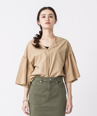 Flare Sleeves Blouse - BEIGE