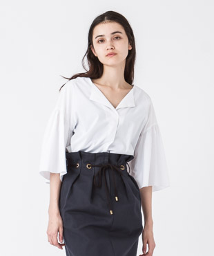 Flare Sleeves Blouse - WHITE