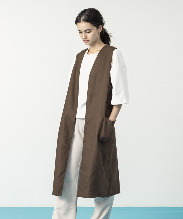 Linen Gillet  - BROWN
