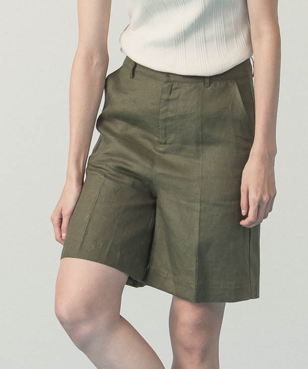 Linen Short Pants  - KHAKI