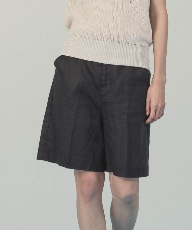 Linen Short Pants  - BLACK