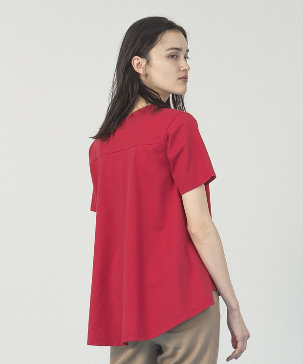 Back Flare Crewneck T-Shirt  - RED