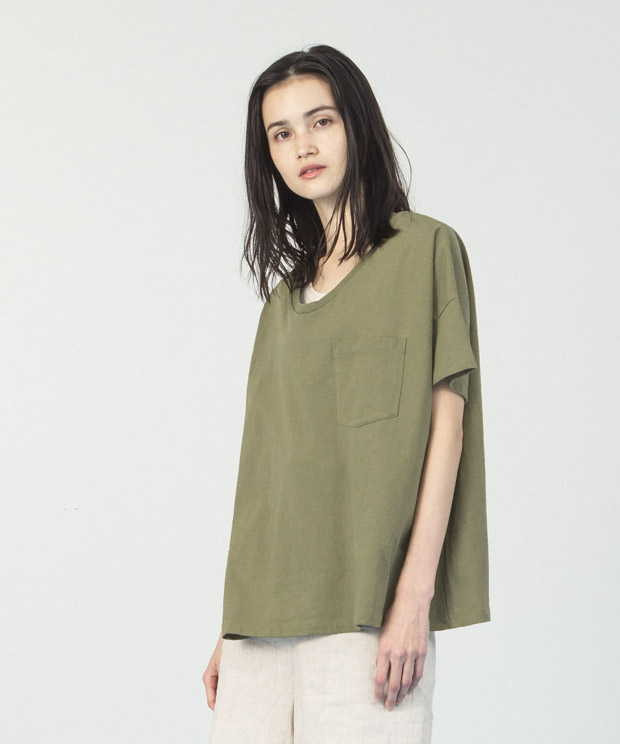 Oversized Wide Neck T-Shirt  - KHAKI
