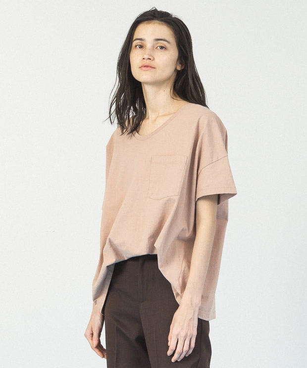 Oversized Wide Neck T-Shirt  - PINK BEIGE