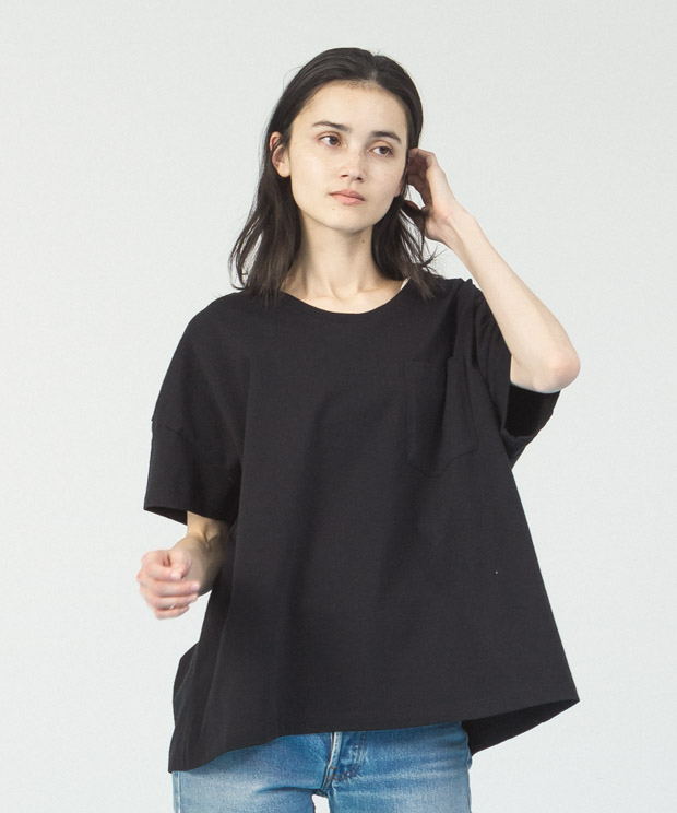 Oversized Wide Neck T-Shirt  - BLACK