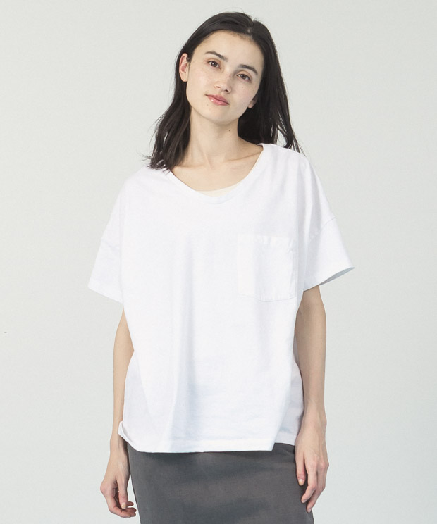 Oversized Wide Neck T-Shirt  - WHITE