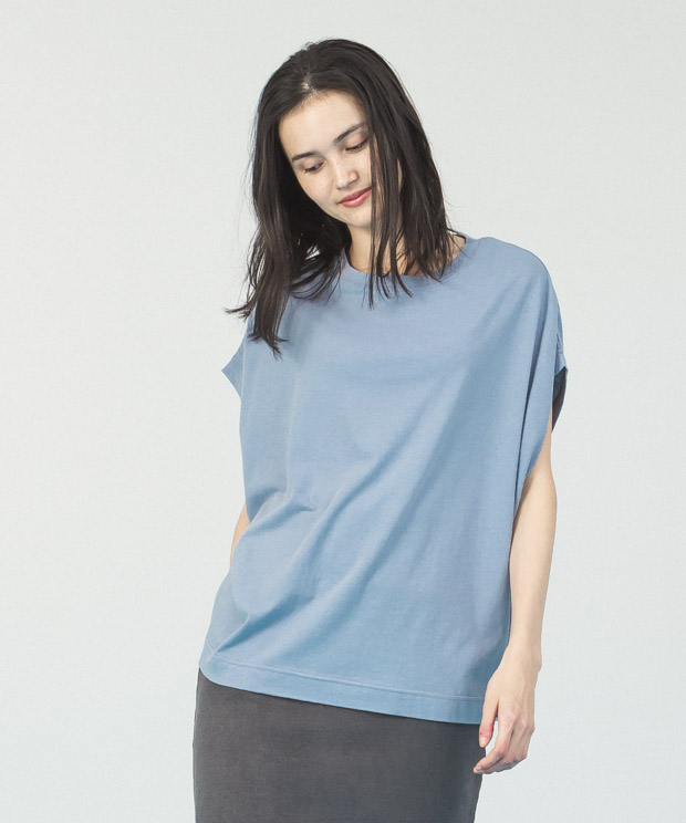 Cotton Rayon Loose T-Shirt  - SAX
