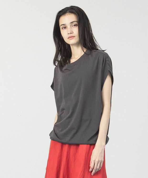 Cotton Rayon Loose T-Shirt  - BLACK