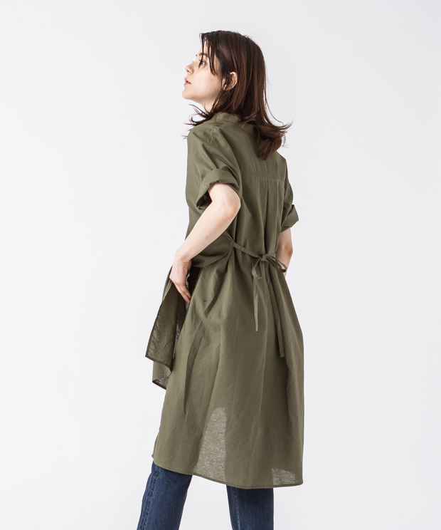 Sideslit Long Shirt - KHAKI