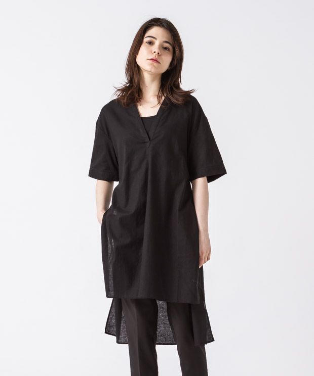 Sideslit Long Shirt - BLACK