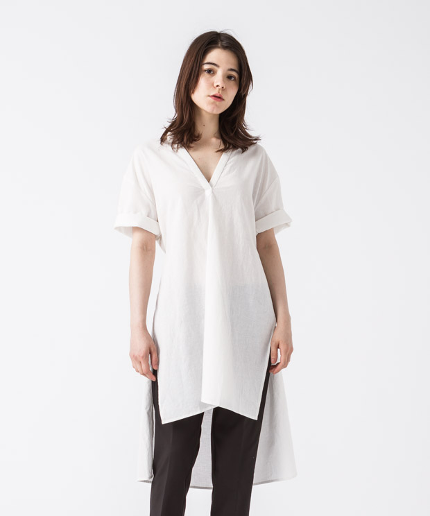 Sideslit Long Shirt - WHITE